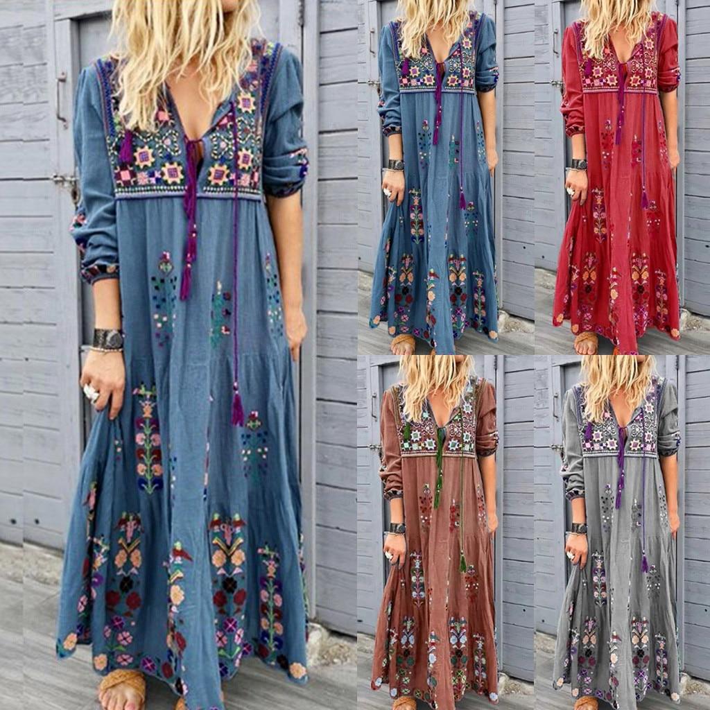 Autumn Bohemia Dress Women Plus Size S-5XL NEW HOT Sexy V Neck Print Lace Up Long Sleeve Party Maxi Loose Dress Freeship платье