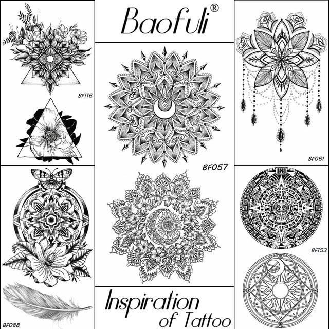 Mehndi Black Henna Flower Temporary Tattoo Crescent Mandala