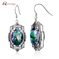 Groothandel Charms Mystic Regenboog Sieraden Oorbellen Vintage 925 Sliver Sieraden voor Vrouwen Oostenrijkse Crystal Wedding Oorbellen