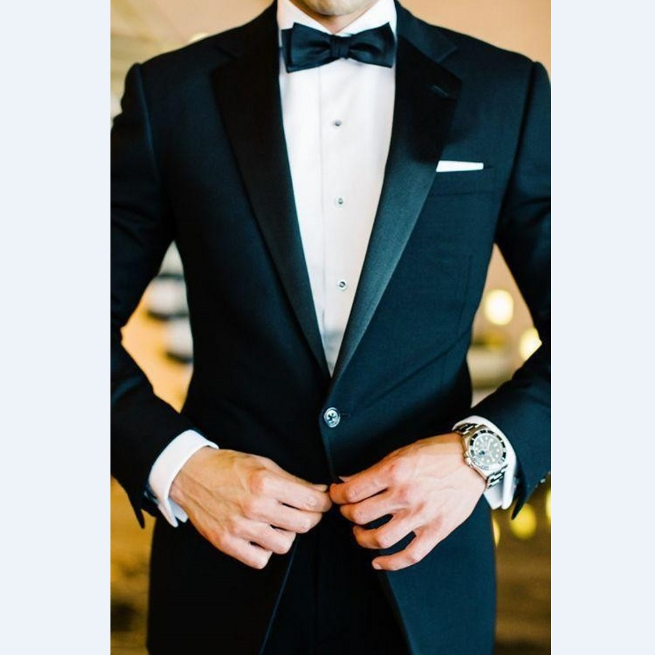 Custom Made Groomsmen Notch Satin Lapel Groom Tuxedos Black Men Suits Wedding Best Man (Jacket+Pants+Tie+Hankerchief) B859