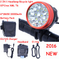 2016 New 18000 Lumens 10 X CREE XM-L T6 LED Headlamp Front Bike Bicycle Light Cycling + 10000mAh 6*18650 Battery Pack + Charger
