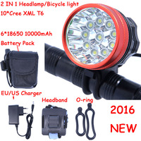 2016 New 18000 Lumens 10 X XM L T6 LED Headlamp Front Bike Bicycle Light Cycling + 10000mAh 6*18650 Battery Pack + Charger