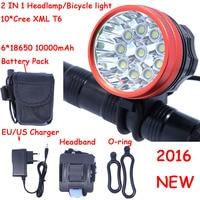 2016 Novo 18000 Lumens 10 X XM L T6 Faróis LED Frontal Da Bicicleta Da Bicicleta Ciclismo Luz + 10000 mah 6*18650 Bateria + Carregador|xm-l t6 led|led headlampxm-l t6 led headlamp -