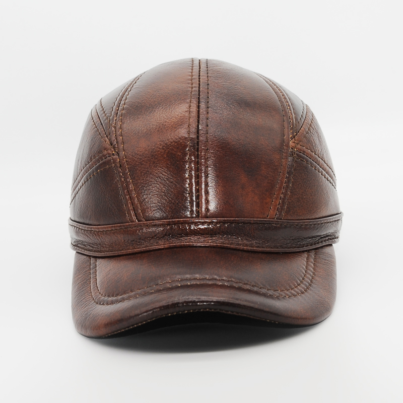Maylooks Genuine Leather Hats for Men Baseball Cap Men's Winter Hats with Ears 2 Color Highest Quality Free Shipping CS52 1