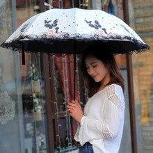 ФОТО flowers and butterfly umbrella rain women windproof ultralight sun rain 3 folding umbrellas lady umbrella parasol lady umbrellas