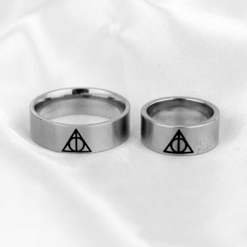 Дары смерти треугольное кольцо магическое Хогвартс школьное очаровательное серебряное кольцо из нержавеющей стали для мужчин модные ювелирные изделия аксессуары Анель