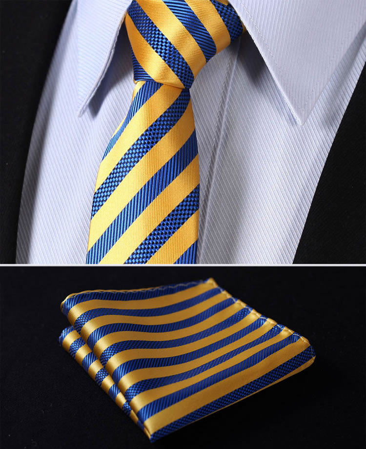 "TS2007E7 Yellow Blue Stripe 2.75"" 100%Silk Woven Slim Skinny Narrow Men Tie Necktie Handkerchief Pocket Square Suit Set"