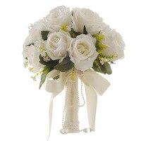 Искусственный белый цветок букет Свадебный букет de mariage ручной работы Листья жемчужные цветы Свадебные букеты невесты