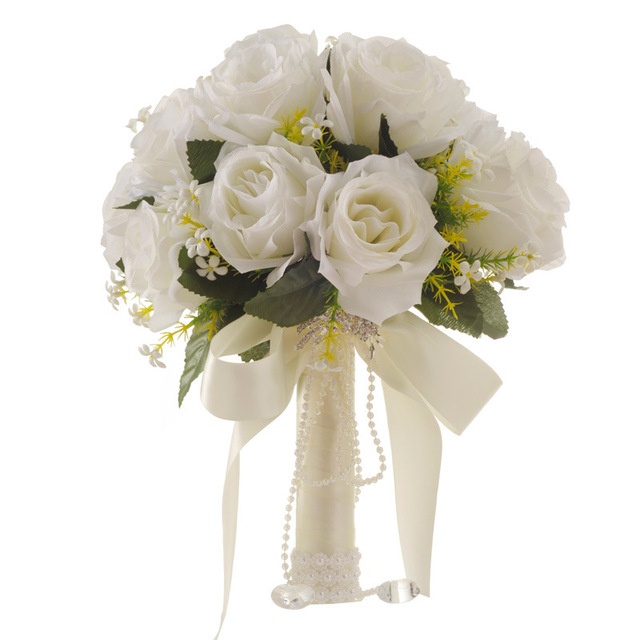 Ramo de flores artificiales blanco para boda, hojas hechas a mano, flores de perlas, Ramos para dama de honor en boda