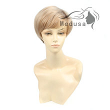 Medusa hair products: Fashion pixie cut style Synthetic pastel wigs for women Short straight Mix color wig with bangs SW0036A