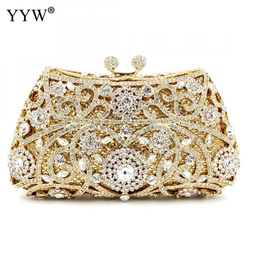 Women Totem Pattern Hollow Out Crystal Evening Metal Clutches Rhinestone Shoulder Bag Purse Wedding Vintage Clutch Bag Diamonds