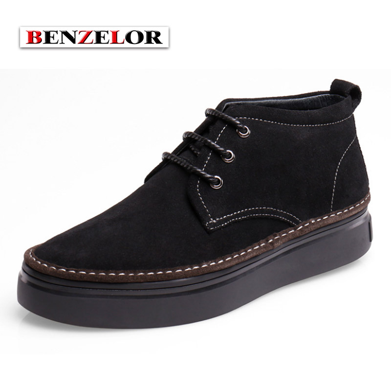 BENZELOR Men Shoes Winter Genuine leather Casual Snow Boots Men Cow Suede Warm Fur Linning Top Quality Brand HL2016929 warmest genuine leather snow boots size 37 50 brand russian style men winter shoes 8815