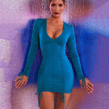 NiceMix 2019 Spring Long Sleeve Pleated Sexy Mini Dress Fashion V-Neck Sheath Casual Women Streetwear Bodycon Party