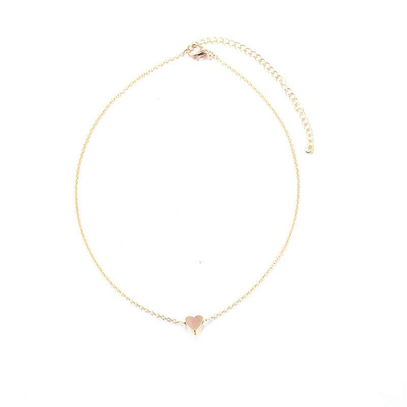 Маленький чокер с сердечками ожерелье для женщин Золотая, серебряная цепочка Smalll love ожерелье кулон в воротнике богемное колье-чокер ювелирные изделия