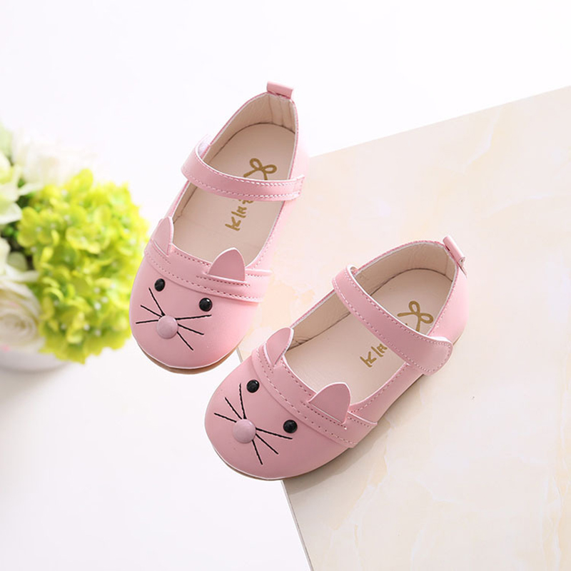 JUFOYU 2018 New Baby Girls Leather Shoes Fashion Cute Cat Girl Shoe Shigh Quality Pu Soft Bottom Line Childrens Leisure Shoes