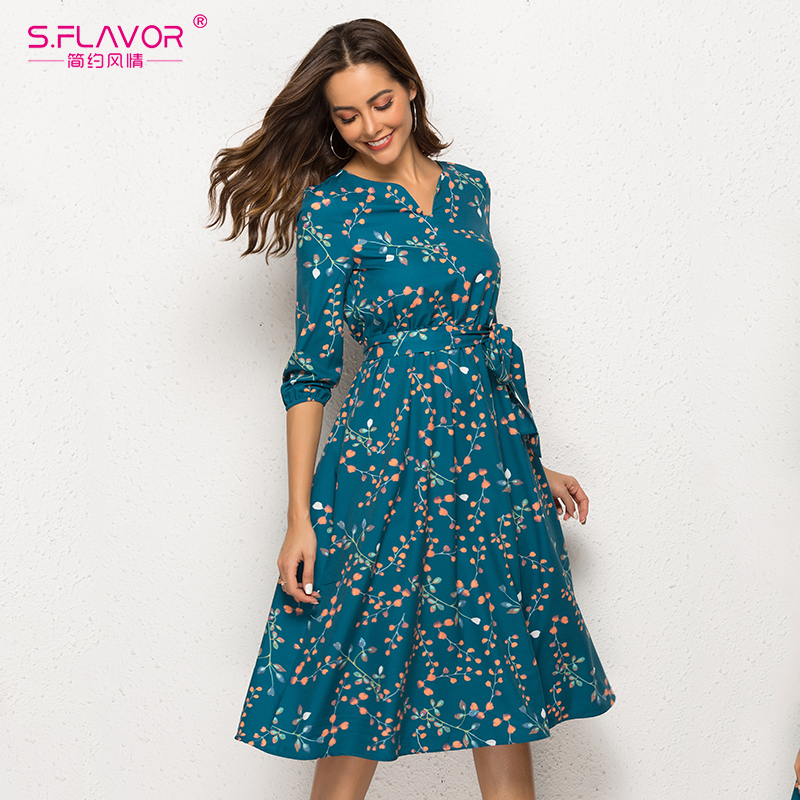 Image 2 - S.FLAVOR Autumn Winter Casual Dress Women V Neck 3/4 Sleeve A Line Mid Calf Print Dress Female Elegant Waist Party Vestidos-in Dresses from Women's Clothing