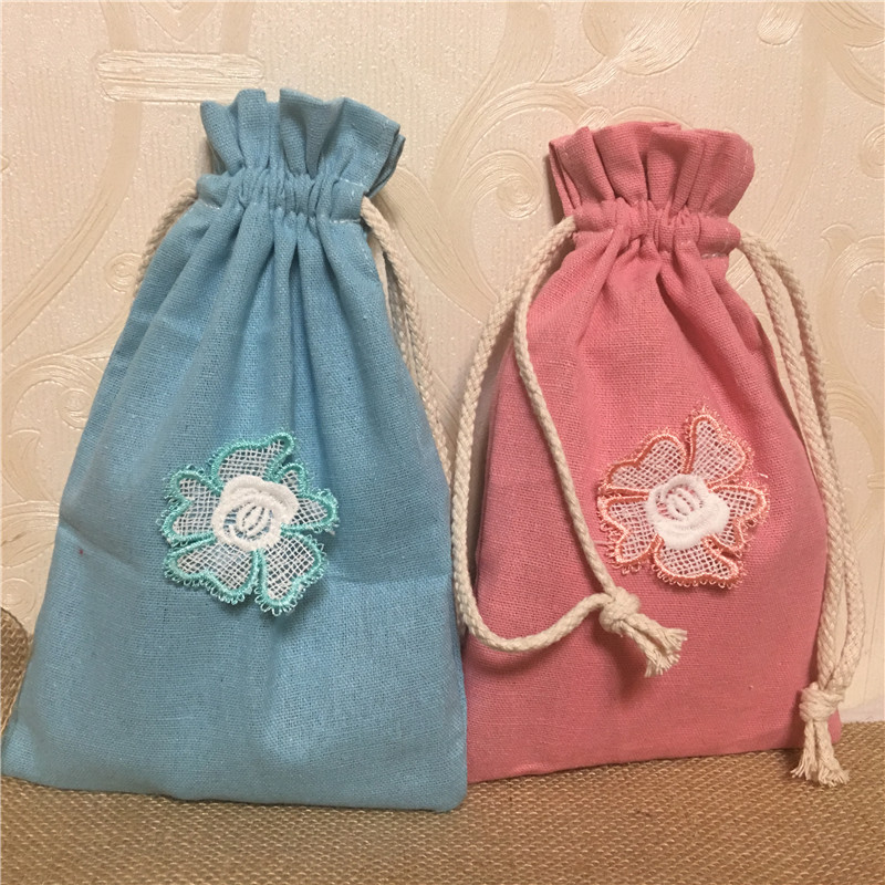 YILE 1pc Colored Cotton Linen Drawstring Bag Multi-purpose Organizer Embroidered Flower 8117a