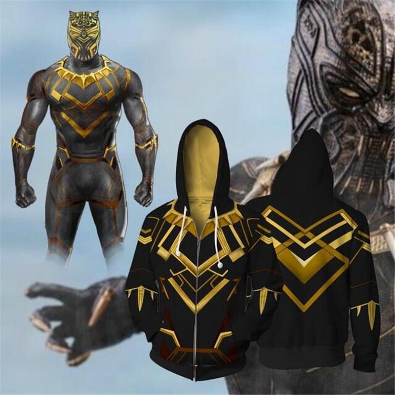 Movie Avengers Black Panther Erik Killmonger Cosplay  Coplay Costume zipper Hoodie Loose Coat Jacket