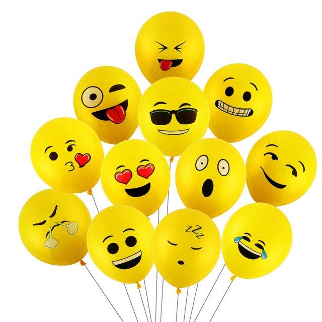CCINEE 10PCs 12inch Emoji Balloons Smiley Face Expression Yellow Latex Balloons Party Wedding Balloons Cartoon Inflatable Balls