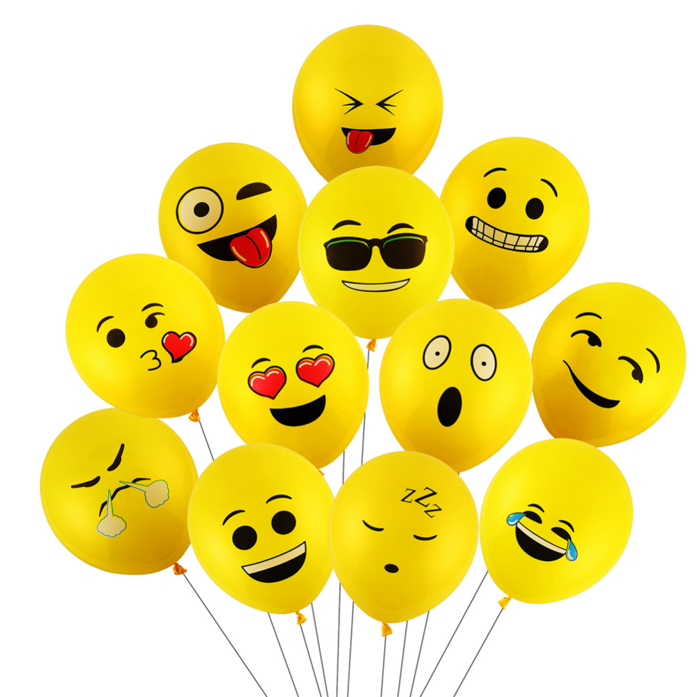 CCINEE 10PCs 12inch Emoji Balloons Smiley Face Expression Yellow Latex Balloons Party Wedding Balloons Cartoon Inflatable Balls