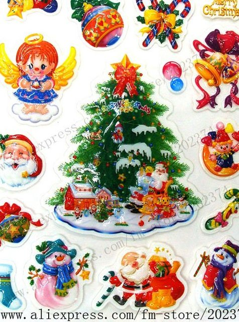 Free Shipping UPS Hot Sale 1 ctn/ lot Mixed Style Wholesale Easy Sticking Christmas Sticker