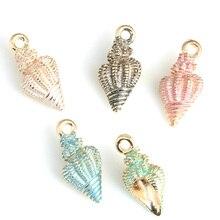 100 pièces 9*24 MM conque coquille cornes pendentif à breloques 5 couleurs émail en métal animal charmes pour la fabrication de bijoux bricolage CH0186
