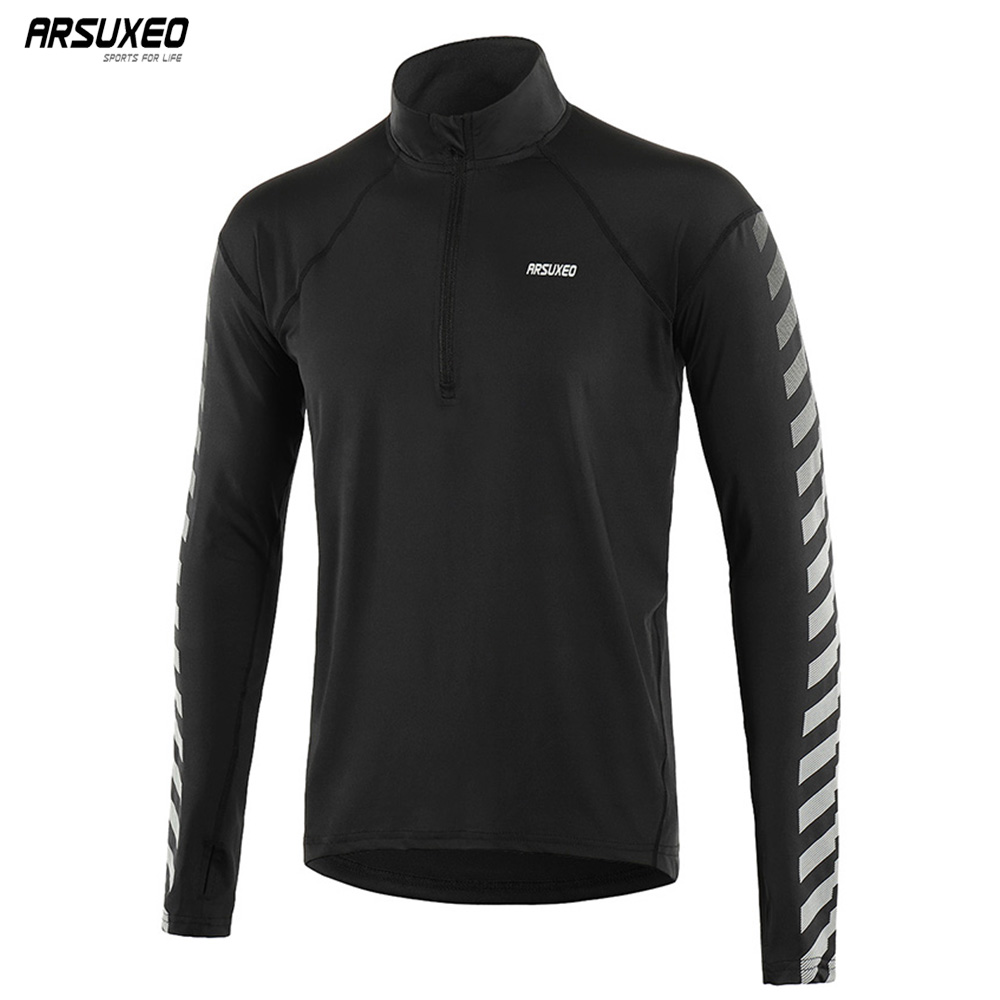 ARSUXEO Men Spring Autumn Running Shirts Long Sleeve Dry Fit Outdoor Sports Shirts Half- Zipper Running Clothing Reflective 18T6