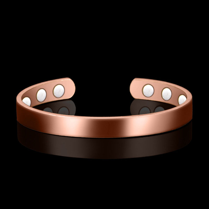 Ethnic Pure Copper 6 Magnetic Wrist Bangle Bracelet For Pain Relief Rheumatic Arthritis Baided Rose Gold Color Men Women CUFF