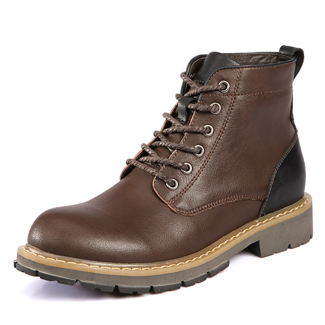 Winter Warm Genuine Leather Boots Fashion Men Winter Boots Ankle Comfortable Short Plush Winter Shoes Quality Work Safety Boots