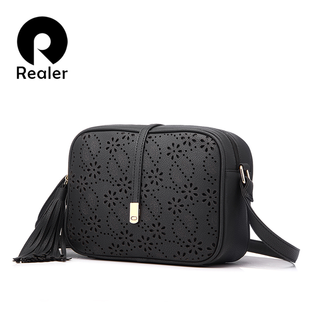 REALER brand new messenger bags women tassel bag floral hollow out design handbag solid vintage small shoulder bag
