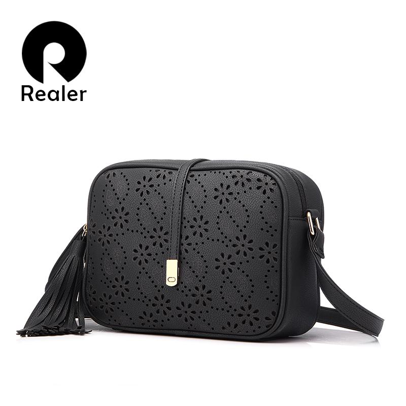 Prix pour REALER marque nouveau messenger sacs femmes gland sac floral creux out design sac à main solide vintage petit sac à bandoulière