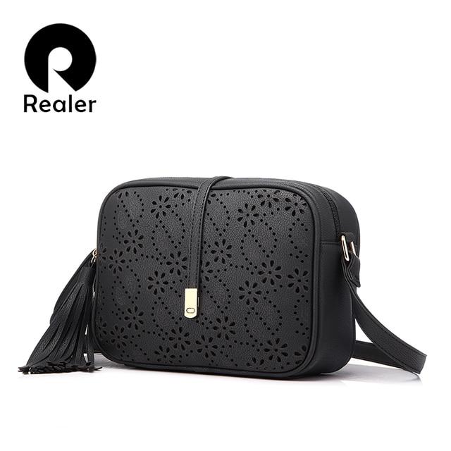 REALER новый дизайн мода сумка через плечо с кисточкой, черный синий коричневый фиолетовый высокое качество сумка