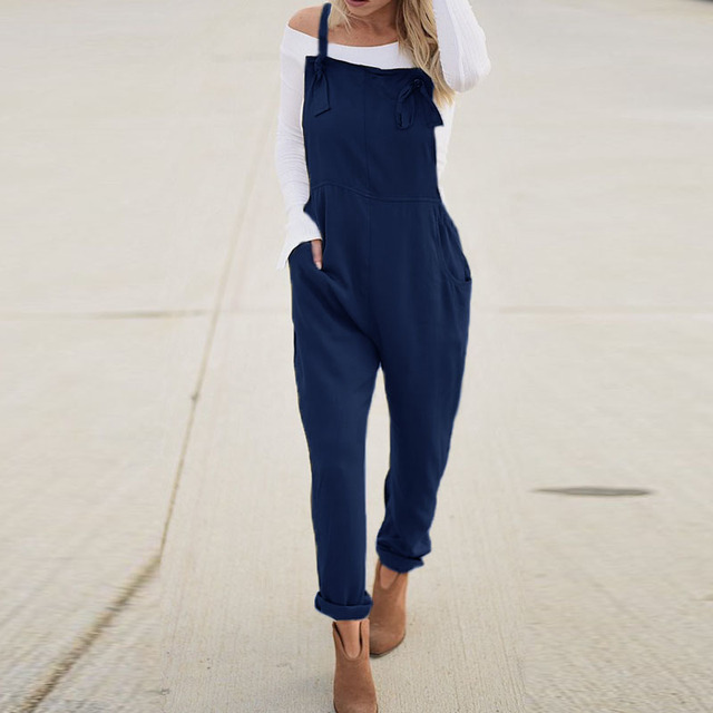 Casual Solid Strappy Sleeveless Long Playsuit 2