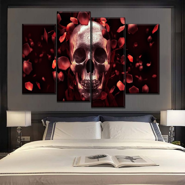 Modular Combinatorial Art Top-Rated Canvas Printed Painting 4 Piece Red Rose Petals And Dark Skull Poster Modern Wall Home Decor