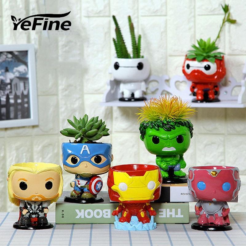 YeFine The Avengers Creative Resin Bonsai Pots Succulent Planter Flower Pot Home Decor Artware Home Multifunctional Flowerpot
