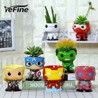 YeFine The Avengers Creative Ceramic Succulent Planter Flower Pot Home Artware Home Multifunctional Flowerpot