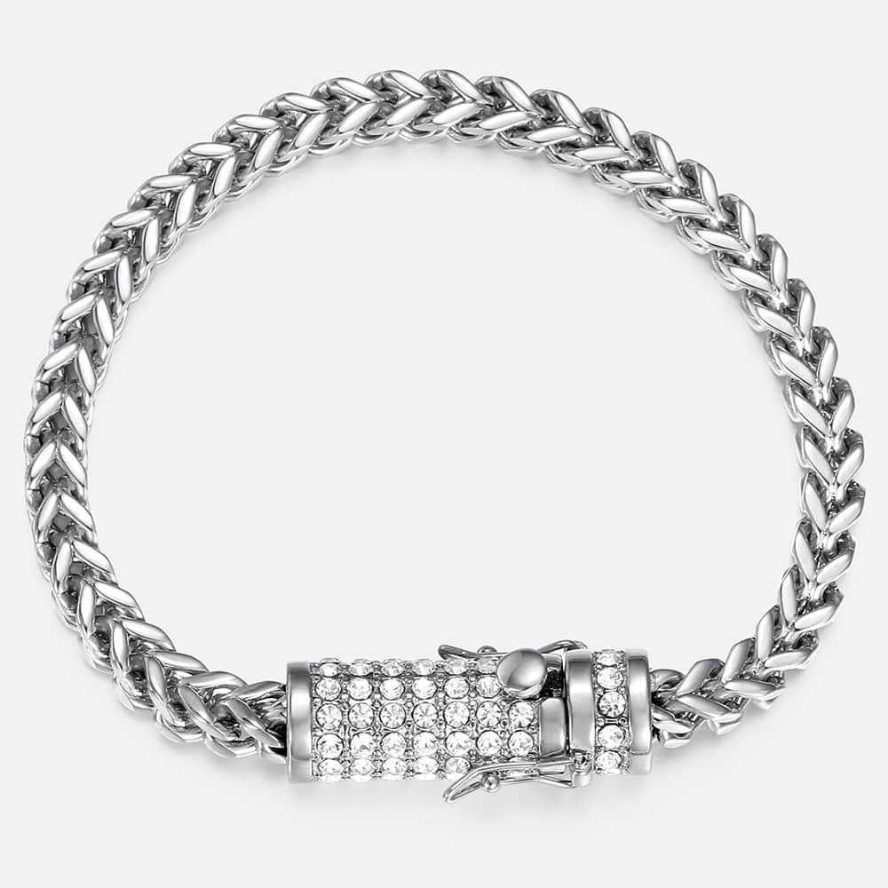 Męskie bransoletka Hip Hop CZ Franco ber Link bransoletki i łańcuszki na rękę złoty kolor srebrny 316L bransoleta ze stali nierdzewnej biżuteria męska HBM112