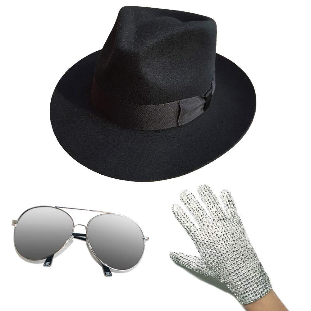 MJ Michael Jackson Fedora chapeau avec gant et grenouille argent lecteur miroir lunettes de soleil fête Performance Collection