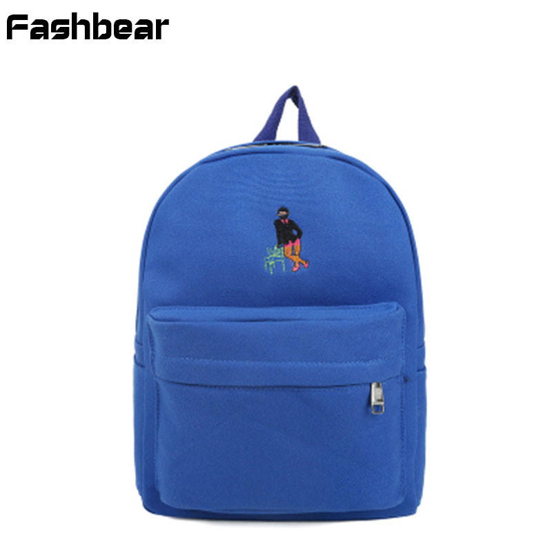 Women Backpack Canvas School Bags For Teenage Girls Fashion Embroidery Back Pack Preppy Style Female Korean Style Travel Bagpack