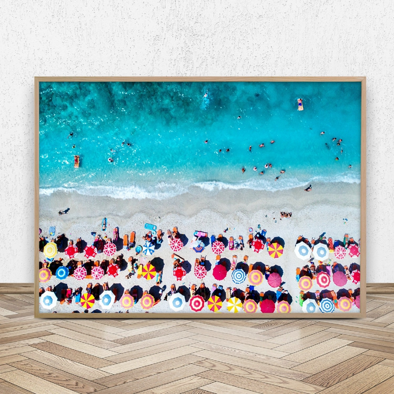 Umbrellas Aerial Beach Photography Canvas Art Print Poster , Beach Landscape Painting Wall Picture for Living Room Home Decor