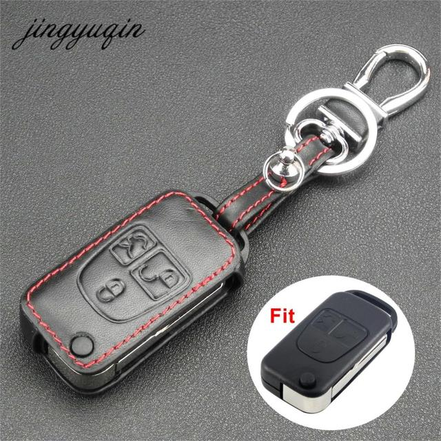 Jingyuqin Leather Cover For Mercedes Benz Ml C Cl S Sl Sel 3 On Flip Folding Car Remote Key Fob Case