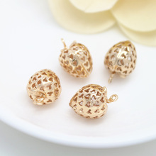 4PCS 12x17MM 24K Champagne Gold Color Plated Brass Strawberry Charms Pendants High Quality Diy Jewelry Accessories