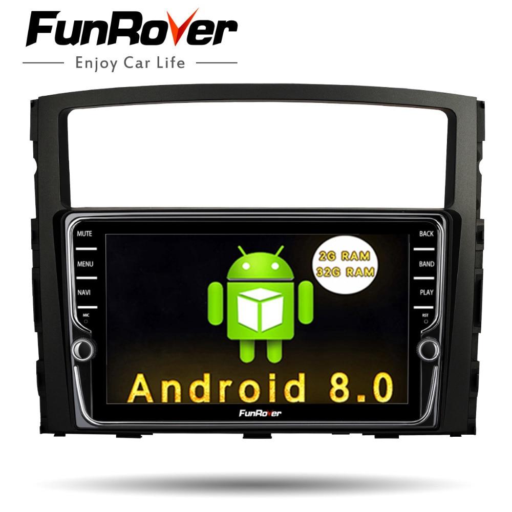 Funrover IPS Android8.0 2 din Car Multimedia stereo dvd Player For MITSUBISHI Pajero V97 V93 2006 2015 Navigation Video GPS Navi