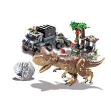 648PCS Jurassicc World Park Carnivorous Escape Dinosaur T-rex Dilophosaurus Building Blocks Bricks Toys Children Gift  BKX104