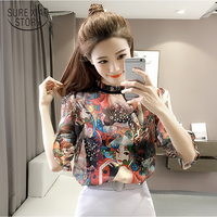Plus Size Chiffon Blouse 2017 Summer New Women Chiffon Shirt Korean Fashion Loose Style Blouse Printed