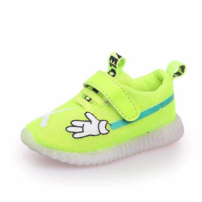 kids LED shoes breathable boys sport shoes printing girls glowing sneakers soft sole summer baby shoes with Lighting size 21-30