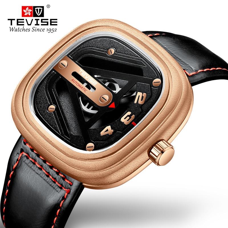 [Dropshipping] TEVISE Men Mechanical Watch T843B Date Calfskin Strap Automatic Movement Waterproof Watch Men Unique Male Clock