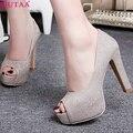 QUTAA Фиолетовый Дамы Обуви Женской Обуви Peep Toe Платформа PU кожа Женщина Насосы Тонкий Высокий Каблук Женщины Свадебная Обувь Размер 34-43