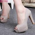 QUTAA Purple Ladies Shoe Woman Shoes Peep Toe Platform PU leather Woman Pumps Thin High Heel Women Wedding Shoes Size 34-43