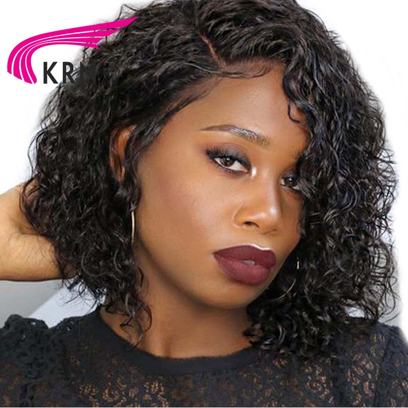 KRN Short Curly Lace Front Human Hair Wigs With Baby Hair 8 16 Inch Remy Hair